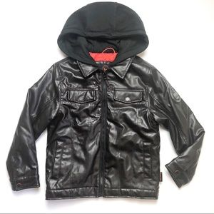 Hawke & Co Faux Leather Bomber Hoodie Jacket